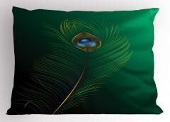 Kuş Tüyü Desenli Yastık Kılıfı Yeşil Mavi Şık Tasarım
