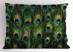 Tavus Kuşu Desenli Yastık Kılıfı Yeşil Lacivert Şık