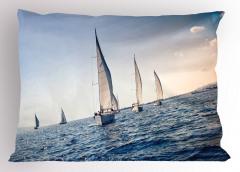 Yelkenli Deniz Temalı Yastık Kılıfı Lacivert