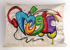 Rengarenk Sokak Sanatı Yastık Kılıfı Sokak Sanatı Temalı Müzik