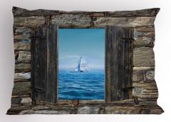 Ahşap Pencere Temalı Yastık Kılıfı Deniz Kahverengi