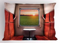 Tren Penceresi Temalı Yastık Kılıfı Kırmızı Koltuk