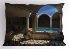 Havuz Manzaralı Yastık Kılıfı Mavi Terapi Sağlık Spa