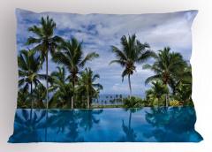 Havuz Manzaralı Yastık Kılıfı Mavi Gökyüzü Palmiye