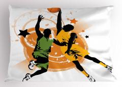 Basketbolcu Desenli Yastık Kılıfı Basketbol Spor Turuncu