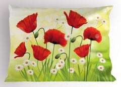 Baharın Çiçekleri Yastık Kılıfı Gelincik Papatya
