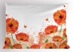 Gelincik ve Kelebekler Yastık Kılıfı Gelincik Çiçeği ve Kelebekler