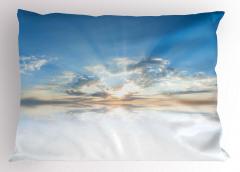 Gökyüzü Temalı Yastık Kılıfı Mavi Beyaz Bulut Işık