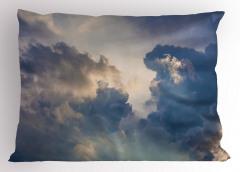 Gökyüzü ve Bulut Temalı Yastık Kılıfı Mavi Gri Şık