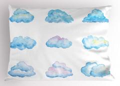 Bulut Desenli Yastık Kılıfı Turkuaz Beyaz Şık Tasarım