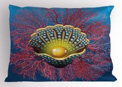 İnci ve Mercan Yastık Kılıfı İnci Mercan Kırmızı Mavi
