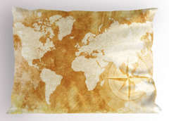 Dünya Haritası Pusula Yastık Kılıfı Bej