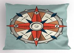 Mavi ve Kırmızı Pusula Yastık Kılıfı Mavi Fon