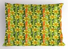 Çiçekli Tasarım Yastık Kılıfı Sarı Nergis Çiçekli Tasarım