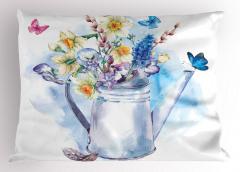 Sulu Boya Çiçekli Yastık Kılıfı Çiçekli Şık Tasarım