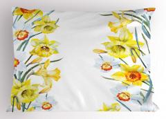 Sulu Boya Nergisler Yastık Kılıfı Sarı Nergis Çiçeği