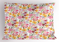 Bahar Işıltısı Yastık Kılıfı Pembe Sarı Çiçekli Tasarım