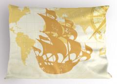 Yelkenli Gemi ve Pusula Yastık Kılıfı Bej