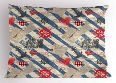 Kırmızı Kalp ve Marin Yastık Kılıfı Mavi Fon