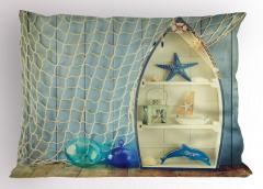 Deniz Yıldızı ve Ağ Yastık Kılıfı Deniz Yıldızı Balıkçı Dekoru