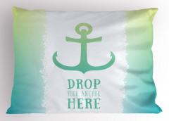 Çapa Baskılı Yastık Kılıfı Deniz Yeşil Mavi Trend