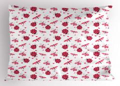 Sevimli Uğur Böcekleri Yastık Kılıfı Çeyizlik Şık Çiçek Kırmızı