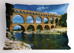 Tarihi Köprü Yastık Kılıfı Nehir Otantik