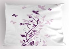 Şık Çiçek ve Kelebek Yastık Kılıfı Menekşe Çiçeği Desenli Bahar Temalı