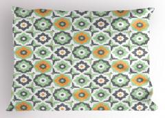 Turuncu Yeşil Çiçekler Yastık Kılıfı Şık Tasarım Turuncu Çiçek Desenli