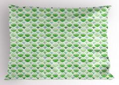 Şık Yoncalı Desen Yastık Kılıfı Şık Tasarım Yonca Figürleri Beyaz