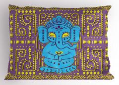 Mavi Fil Desenli Yastık Kılıfı Mor Sarı Etnik
