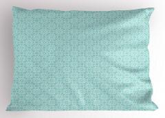 Geometrik Çiçek Desenli Yastık Kılıfı Mavi ve Beyaz