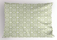 Yeşil ve Gri Geometrik Yastık Kılıfı Beyaz Fon