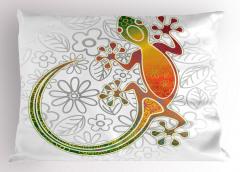 Kurbağa ve Çiçek Yastık Kılıfı Rengarenk