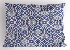 Çini Desenli Yastık Kılıfı Mavi Beyaz Kareli