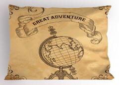 Dünya Haritası Temalı Yastık Kılıfı Retro Kahverengi