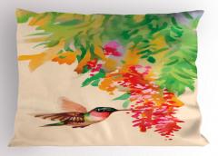 Kuş ve Çiçek Desenli Yastık Kılıfı Rengarenk Çeyizlik