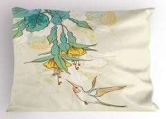 Yeşil Çiçek ve Kuş Yastık Kılıfı Çeyizlik Şık