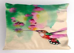 Çiçek ve Kuş Desenli Yastık Kılıfı Sulu Boya Çeyizlik