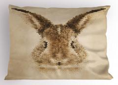 Tavşan Portreli Yastık Kılıfı Kahverengi Nostaljik