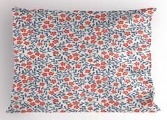 Çiçek Desenli Yastık Kılıfı Kırmızı Lacivert Trend