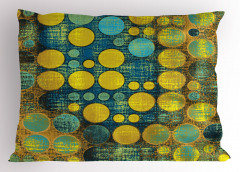 Nokta Desenli Yastık Kılıfı Retro Sarı Yeşil Mavi