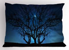 Ay Işığı ve Yıldızlar Yastık Kılıfı Ağaç Siyah