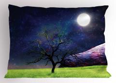Ay Işığı ve Ağaç Yastık Kılıfı Ay Işığı Kozmos Evren Mor