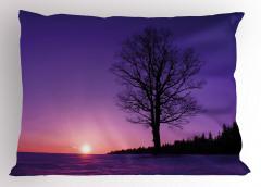 Deniz Kenarındaki Ağaç Yastık Kılıfı Yalnız Ağaç Doğa Mor