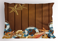 Deniz Yaşamı Yastık Kılıfı Çapa Kahverengi