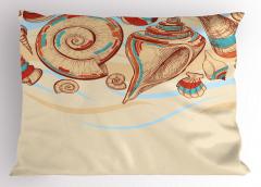 Deniz Kabuğu Yastık Kılıfı Pastel Renkler Eskiz