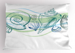 Pastel Deniz Kabuğu Yastık Kılıfı Pastel Eskiz Yeşil