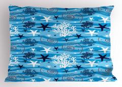 Su Altı Yaşamı Yastık Kılıfı Deniz Yıldızı Mavi
