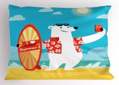 Kutup Ayısı Desenli Yastık Kılıfı Mavi Beyaz Kırmızı